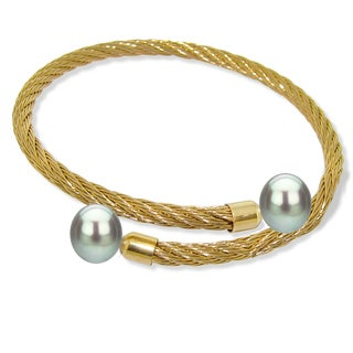 DaVonna Stainless Steel 9-10mm Grey Long Shape Pearl Expandable Bangle Bracelet