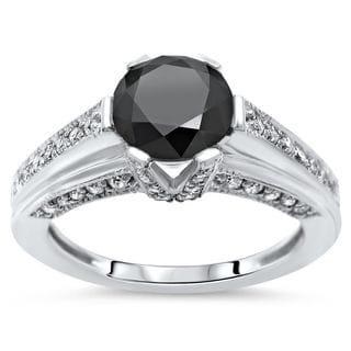 Noori 14k Gold 2ct TDW Black and White Diamond Six Prong Engagement Ring (H-I, I1-I2)