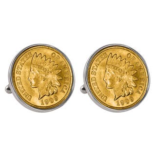 American Coin Treasures Gold-Layered Indian Penny Silvertone Bezel Cuff Links
