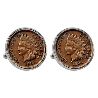American Coin Treasures Silvertone Bezel Indian Penny Cuff Links