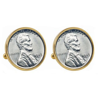 American Coin Treasures 1943 Lincoln Steel Penny Goldtone Bezel Cuff Links