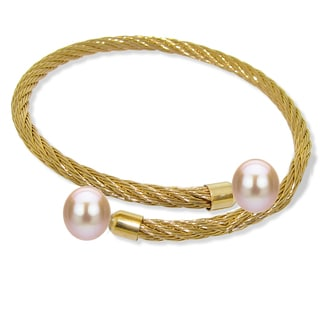 DaVonna Stainless Steel 9-10mm Pink Long Shape Pearl Expandable Bangle Bracelet
