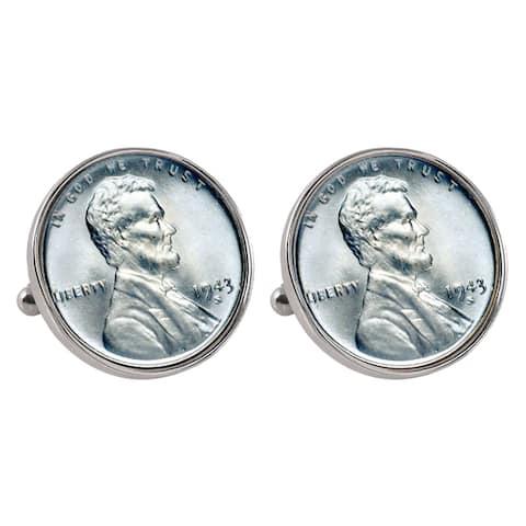American Coin Treasures Silvertone Bezel 1943 Lincoln Steel Penny Cuff Links