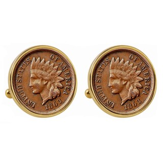 American Coin Treasures 1800s Indian Penny Goldtone Bezel Cuff Links