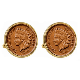 American Coin Treasures Goldtone Indian Penny Bezel Cuff Links