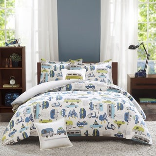 INK+IVY Kids Road Trip Multi Cotton 4-piece Duvet Cover Set