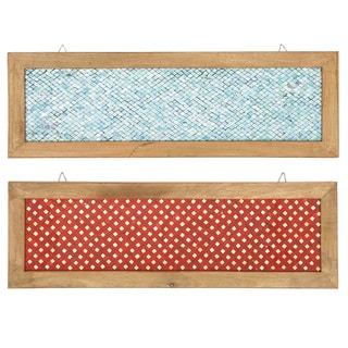 Urban Designs 'Fire and Ice' Glass Mosaic Panel Wall Art with Natural Wood Frame (2 Pieces)
