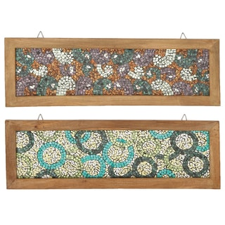 Urban Designs 'Midnight and Midday' Multicolored Wood-framed Mosaic Wall Art Set