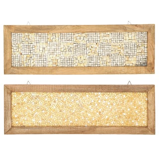 Urban Designs Handcrafted Orange Cracked-mosaic Decorative Wall Art Panels with Wood Frames