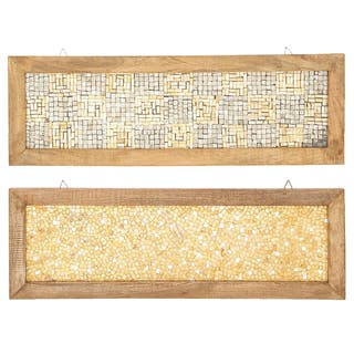 Handmade Cracked Mosaic Panel with Wood Frame, Set of 2 (India)