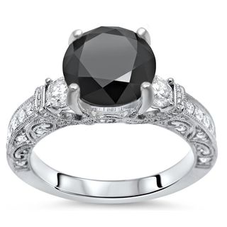 Noori 18k Gold 3 2/5ct TDW Black and White Diamond 3 Stone Vintage Style Engagement Ring