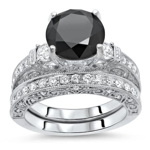 18k White Gold 3 3/5ct Black and White Diamond Vintage Style Bridal Ring Set