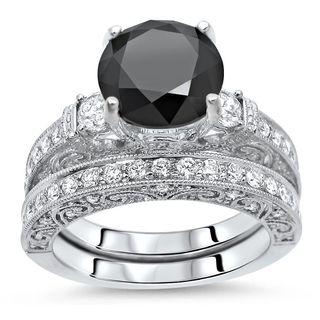 Noori 18k White Gold 3 3/5ct Black and White Diamond Vintage Style Bridal Ring Set