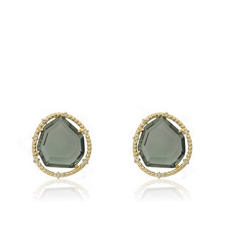 Riccova Black Glass 14k Goldplated Stud Earrings