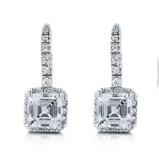Collette Z C.Z. Sterling Silver Rhodium Plated Square Shape Euro Earrings