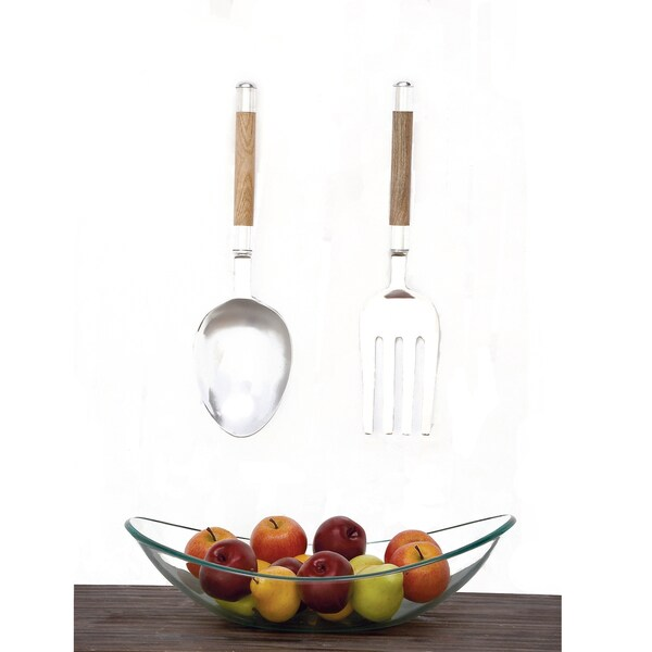 Wooden Utensil Wall Decor : Urban designs chrome aluminum wood piece small utensil