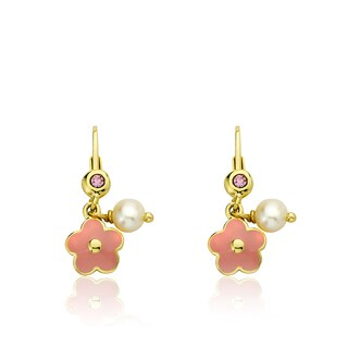Little Miss Twin Stars 14k Gold-plated Pink Enamel Frosted Flowers Leverback Earrings