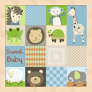 Jennifer Nilsson 'Baby Boy Animal Quilt' Framed Art