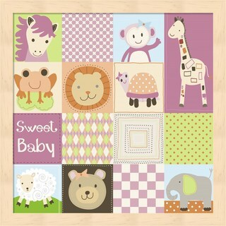 Jennifer Nilsson 'Baby Girl Animal Quilt' Framed Art