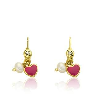 Little Miss Twin Stars Hot Pink Enamel I Love My Jewels Heart Leverback Earring|https://ak1.ostkcdn.com/images/products/12492075/P19301837.jpg?impolicy=medium