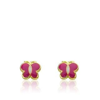 Little Miss Twin Stars Charming Treats 14K Gold-plated Hot-pink Enamel Butterfly Earrings