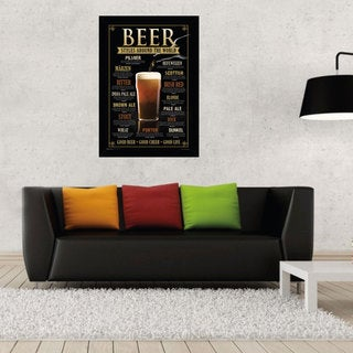 24-inch x 36-inch Beer Styles Print with Black Contemporary Poster Frame