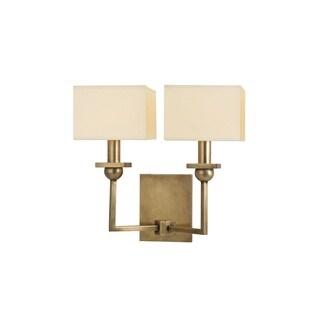 Hudson Valley Morris 2-light Aged Brass Wall Sconce, Cream Shade