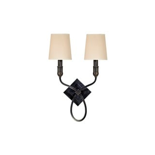 Hudson Valley Westbury Old Bronze Wall Sconce, White Faux Silk Shade