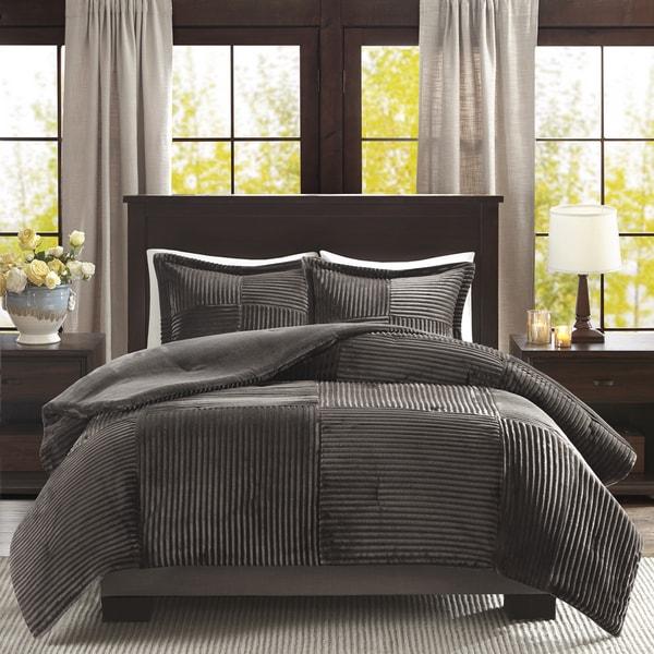 Madison park williams corduroy plush comforter mini set free shipping today - Corduroy bedspreads ...