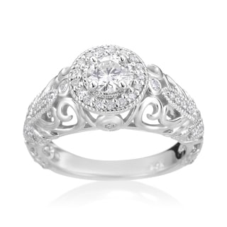 SummerRose 14k White Gold 3/4ct TDW Diamond Antique-style Engagement Ring