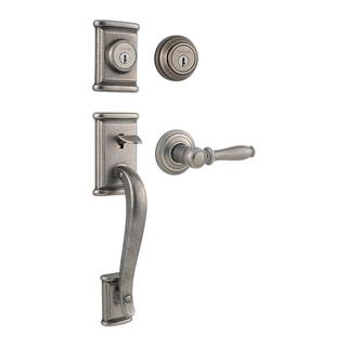 Kwikset Ashfield Double Cylinder Rustic Pewter Handleset with Ashfield Lever Featuring SmartKey