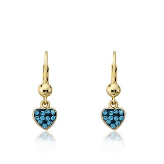 Molly Glitz 14k Gold-plated Blue Enamel and Crystal Heart of Jewels Leverback Dangle Earrings