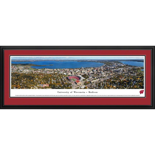 Blakeway Panoramas Wisconsin Campus Aerial View Multicolored Framed Print