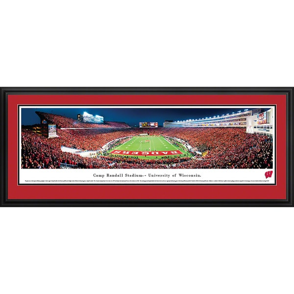 Blakeway Panoramas Wisconsin Football End Zone Multicolored Framed Print