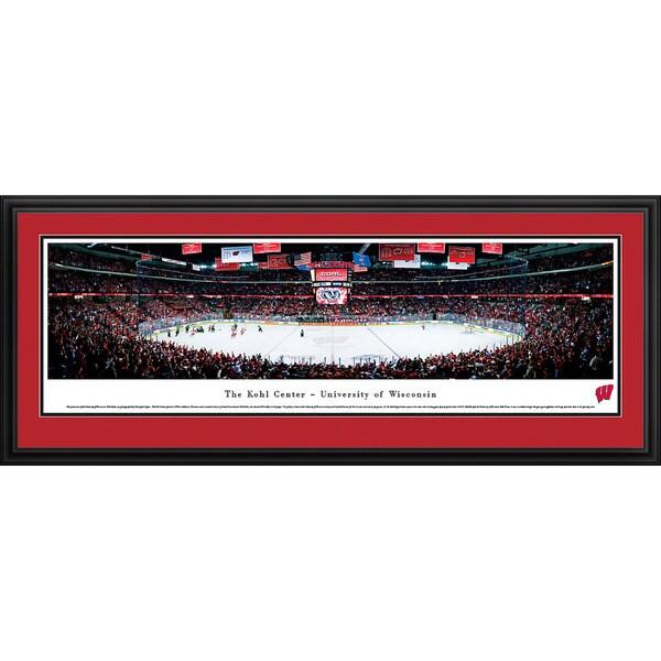 Blakeway Panoramas Wisconsin Campus Hockey Tempered Glass Framed Print