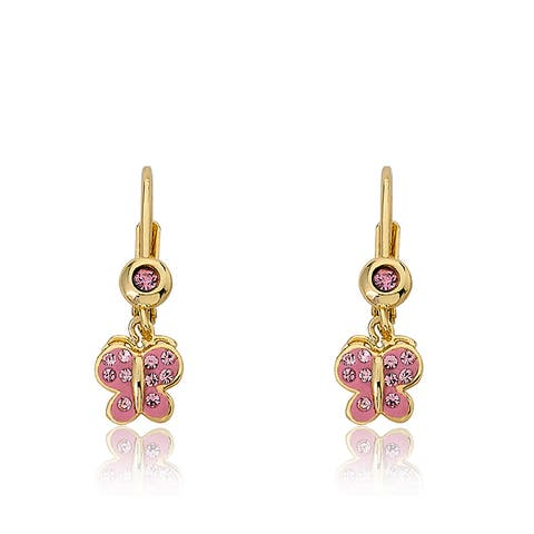 Molly Glitz Shine Bright 14k Goldplated Pink Enamel Pink Crystal Accent Butterfly Dangle Leverback Earrings