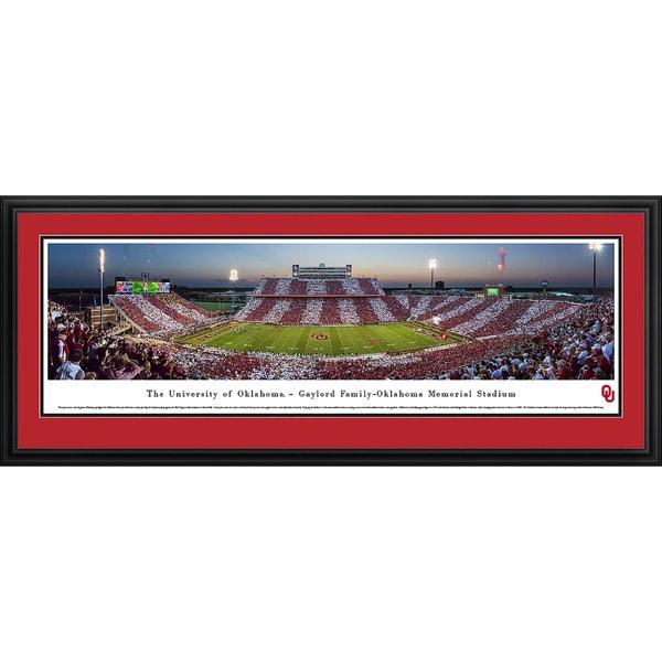 James Blakeway '50 Yard Line' Oklahoma Football Blakeway Panoramas Framed Print