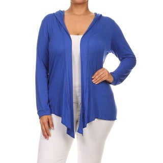 Women's Plus Size Long-sleeved Open-front Hooded Cardigan