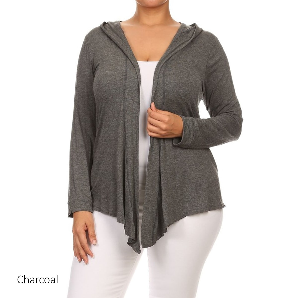 f64067103e1 Women s Plus Size Long-sleeved Open-front Hooded Cardigan