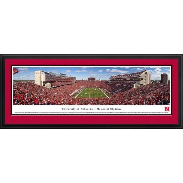Blakeway Worldwide Panoramas Nebraska Cornhuskers Football End Zone Balloons Framed Print