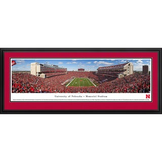Blakeway Worldwide Panoramas Nebraska Cornhuskers Football End Zone Balloons Framed Print