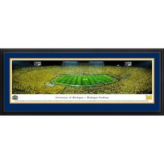 Blakeway Worldwide Panoramas Michigan Wolverines Football 50-yard Line at Night Framed Print