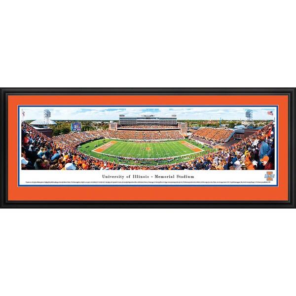 Blakeway Worldwide Panoramas Illinois Fighting Illini Football Framed Print