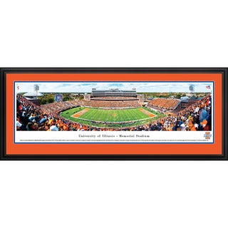 Blakeway Worldwide Panoramas Illinois Fighting Illini Football Framed Print