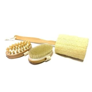 Kingsley 3-piece Natural-bristle Bath Brush, Massager, and Loofah Set