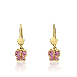 Molly Glitz Shine Bright 14k Goldplated Pink Enamel Pink Crystal accents Butterfly Dangle Leverback Earrings (Option: Gold Overlay)
