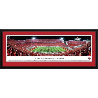 Blakeway Worldwide Panoramas Ohio State Buckeyes Football Marching Band Script Framed Print