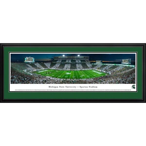 Blakeway Panoramas Michigan State Football 'Stripe - 50 Yd' Framed Print