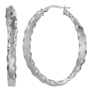 Fremada Italian 14k White Gold Twist Design Flat Oval Hoop Earrings, 1.7""