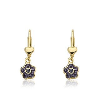 Little Miss Twin Stars Molly Glitz 14k Goldplated Lavender Enamel Flower Dangle Leverback Earring Accented With Crystals